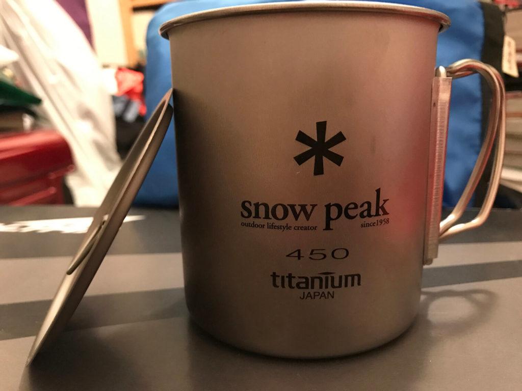 snowpeak のチタンシングルマグ 450 とフタ